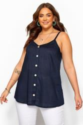 Navy Button Cami Top
