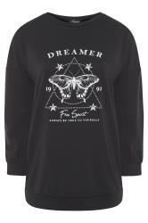 LIMITED COLLECTION - Sweatshirt met vlinder en 'Dreamer' slogan in zwart