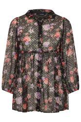 Black Floral Peplum Dobby Chiffon Shirt