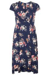 YOURS LONDON Wickelkleid mit asymmetrischem Saum - Blau/Rosa
