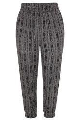 Black Tribal Stripe Crinkle Harem Trousers