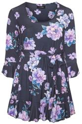 YOURS LONDON Navy Floral Frill Belted Top