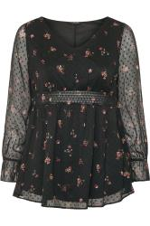 Black Ditsy Floral Dobby Shirred Blouse