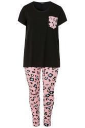 Black & Pink Leopard Print Legging Pyjama Set