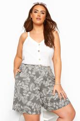 Khaki Leaf Print Jersey Shorts