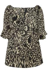 Black Animal Print Chiffon Wrap Top