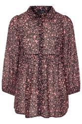 Black & Pink Star Print Peplum Chiffon Shirt