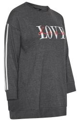 Charcoal Grey Love Slogan Varsity Stripe Sweatshirt