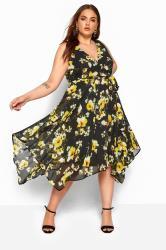 Black & Yellow Floral Hanky Hem Dress