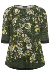 Green Floral Print Jersey Swing Top