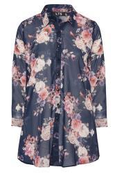 LTS Navy Floral Longline Chiffon Shirt
