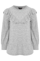 Grey Marl Frill Knitted Jumper