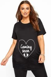 BUMP IT UP MATERNITY Black Glittery 'Coming Soon' Top
