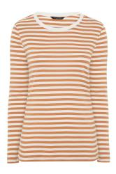 Tan Brown & White Stripe Long Sleeve Top