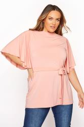 YOURS LONDON Pink Slinky Belted Top