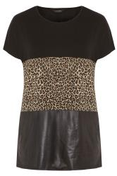 Black Animal Print Leather Look Colour Block Top