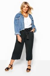 Black Belted Cropped Trousers