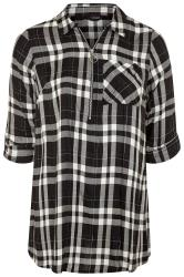 Black Metallic Zip Neck Check Shirt