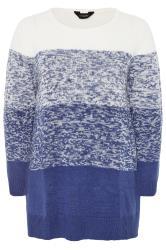 Blue Twist Colour Block Knitted Jumper