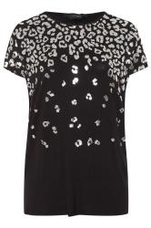 Black Foil Animal Print Dipped Hem Top