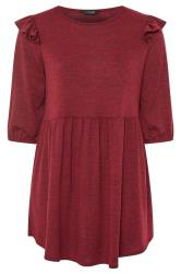 Burgundy Marl Frill Knitted Peplum Top