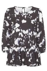 YOURS LONDON Black Abstract Peplum Top