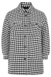Black & White Dogtooth Check Shacket
