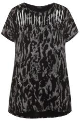Black & Grey Tie Dye Laser Cut Top