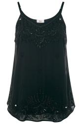 LUXE Black Floral Embellished Chiffon Cami Top