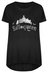 Black Foil 'Halloqueen' Slogan Top