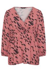 LIMITED COLLECTION Pink Animal Marking Wrap Top