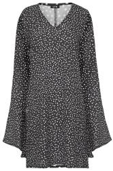 LTS Black Polka Dot Wide Flute Sleeve Tunic Top
