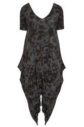 Black & Grey Tie Dye Short Sleeve Harem Jersey Jumpsuit