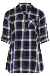 Blue Metallic Zip Neck Check Shirt