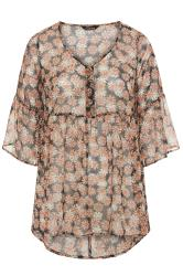 LIMITED COLLECTION Black Chiffon Daisy Dipped Hem Smock Top