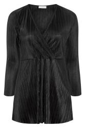 YOURS LONDON Black Plisse Wrap Top