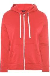 Hoodie met rits en zakken in rood