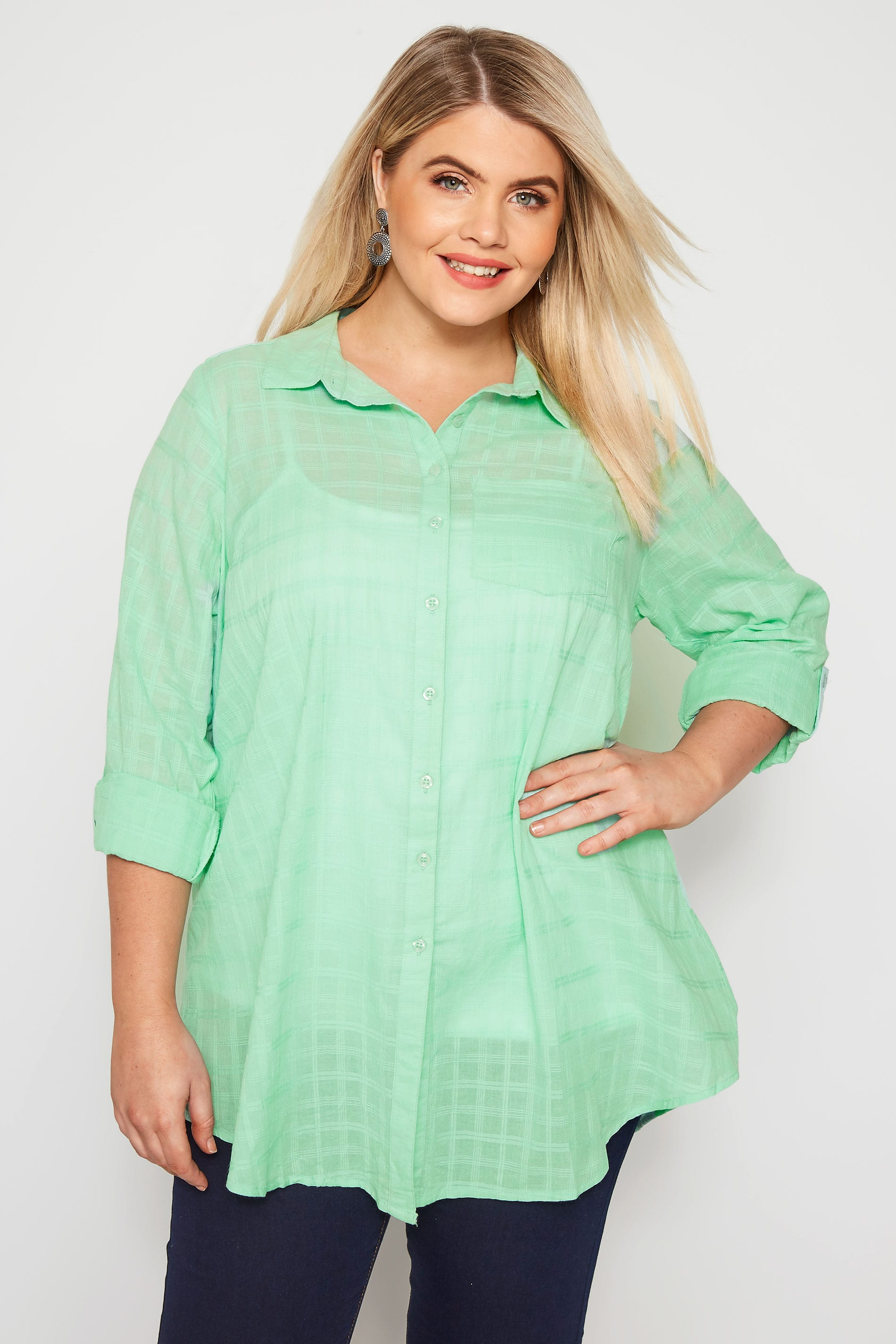 Mint Green Dobby Check Tie Front Shirt