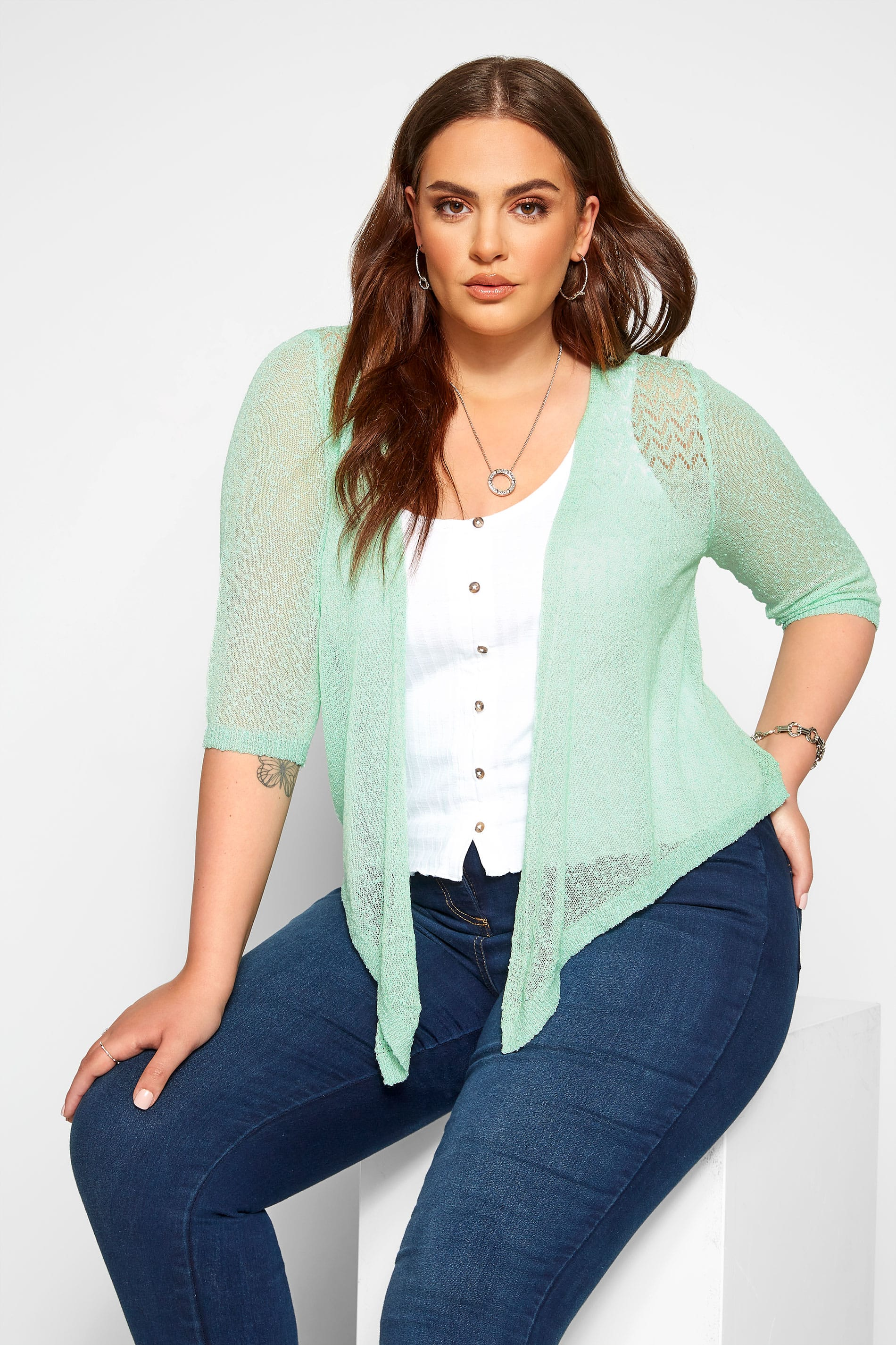 Mint Green Waterfall Fine Knit Shrug