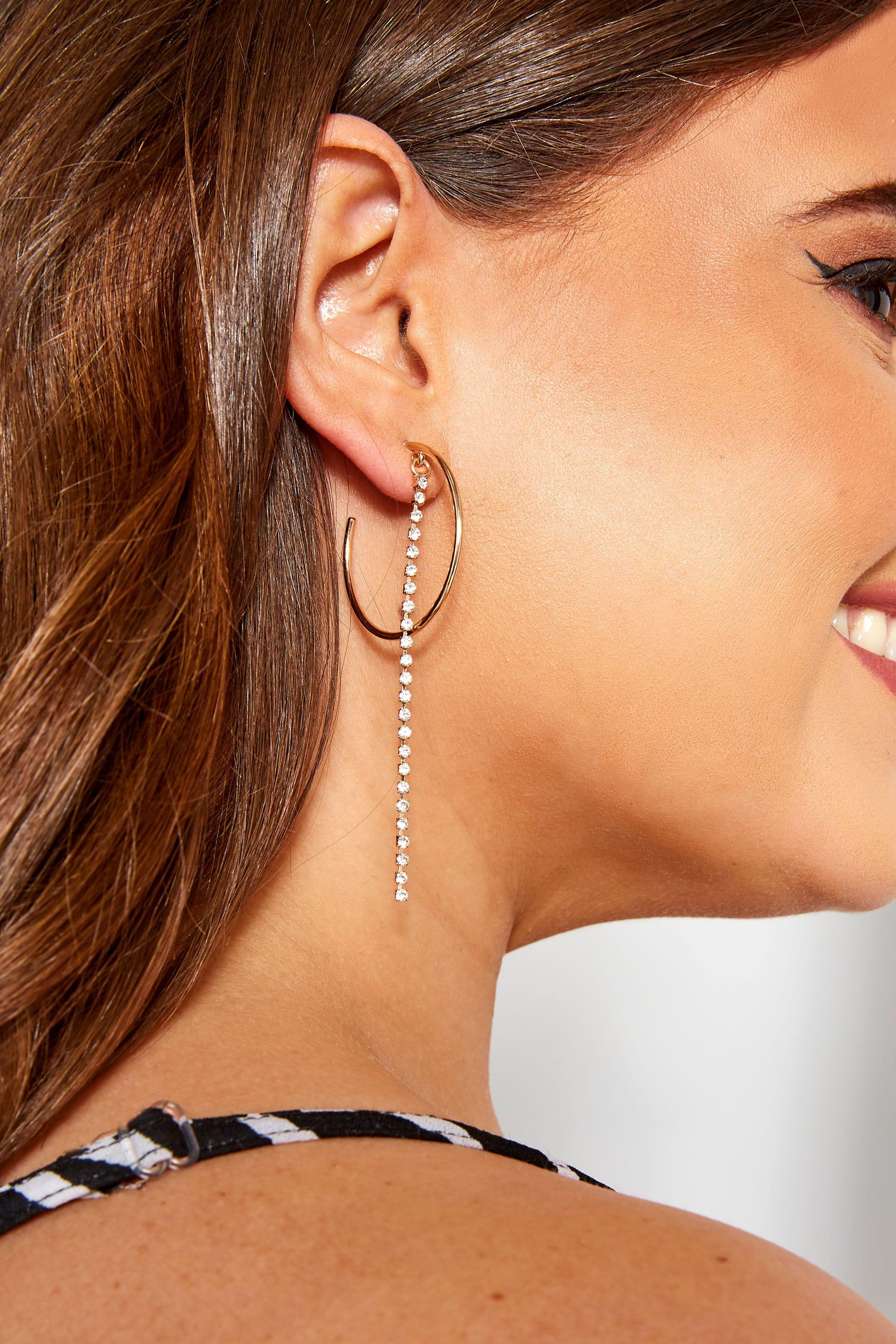 3 PACK Gold Diamante Hoop Earrings Set