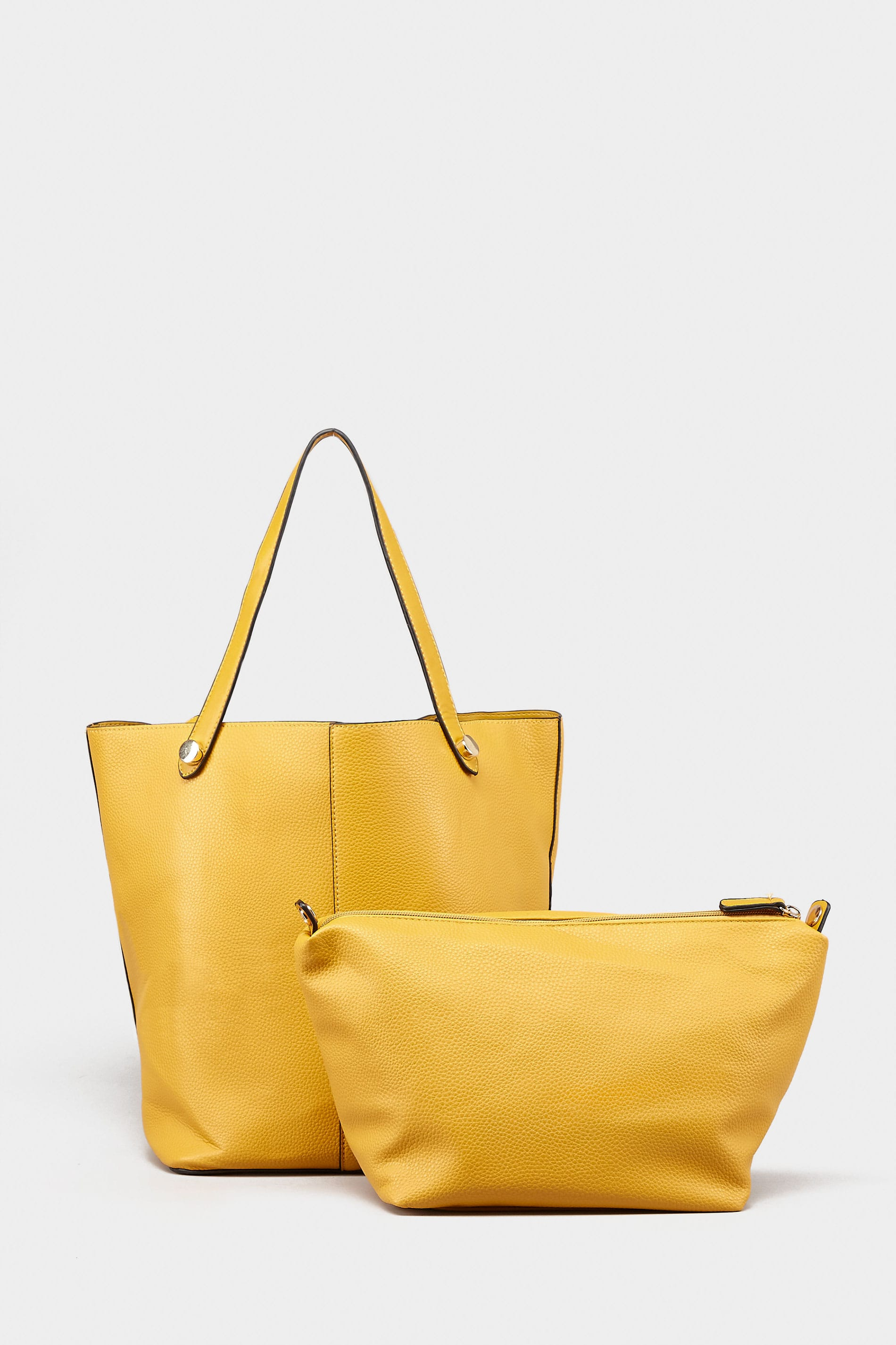 Mustard Yellow Grained Tote Bag With Removable Compartment