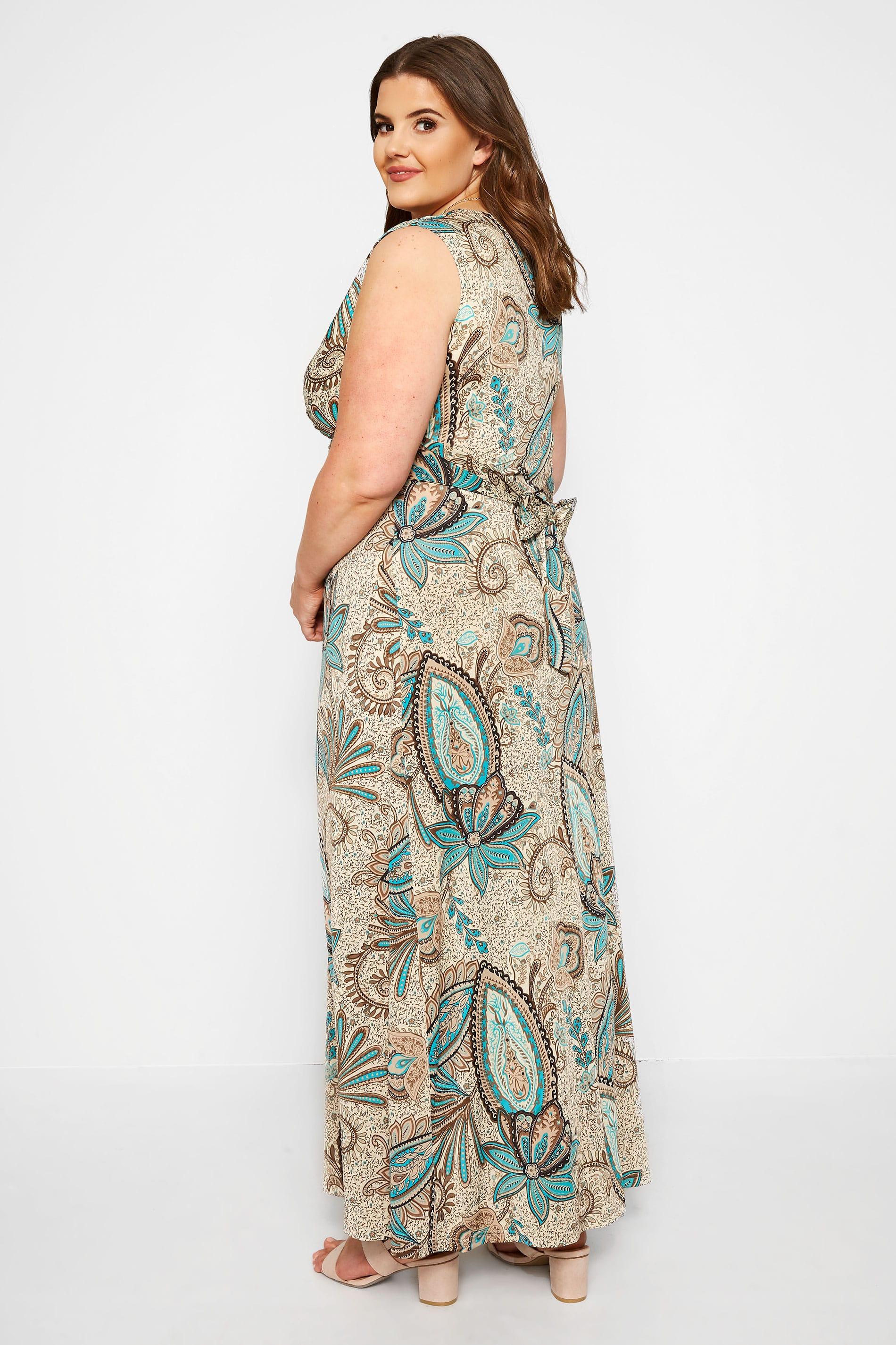 Maxi-Kleid im Paisley-Muster - Beige/Grün, große Größen 44 ...