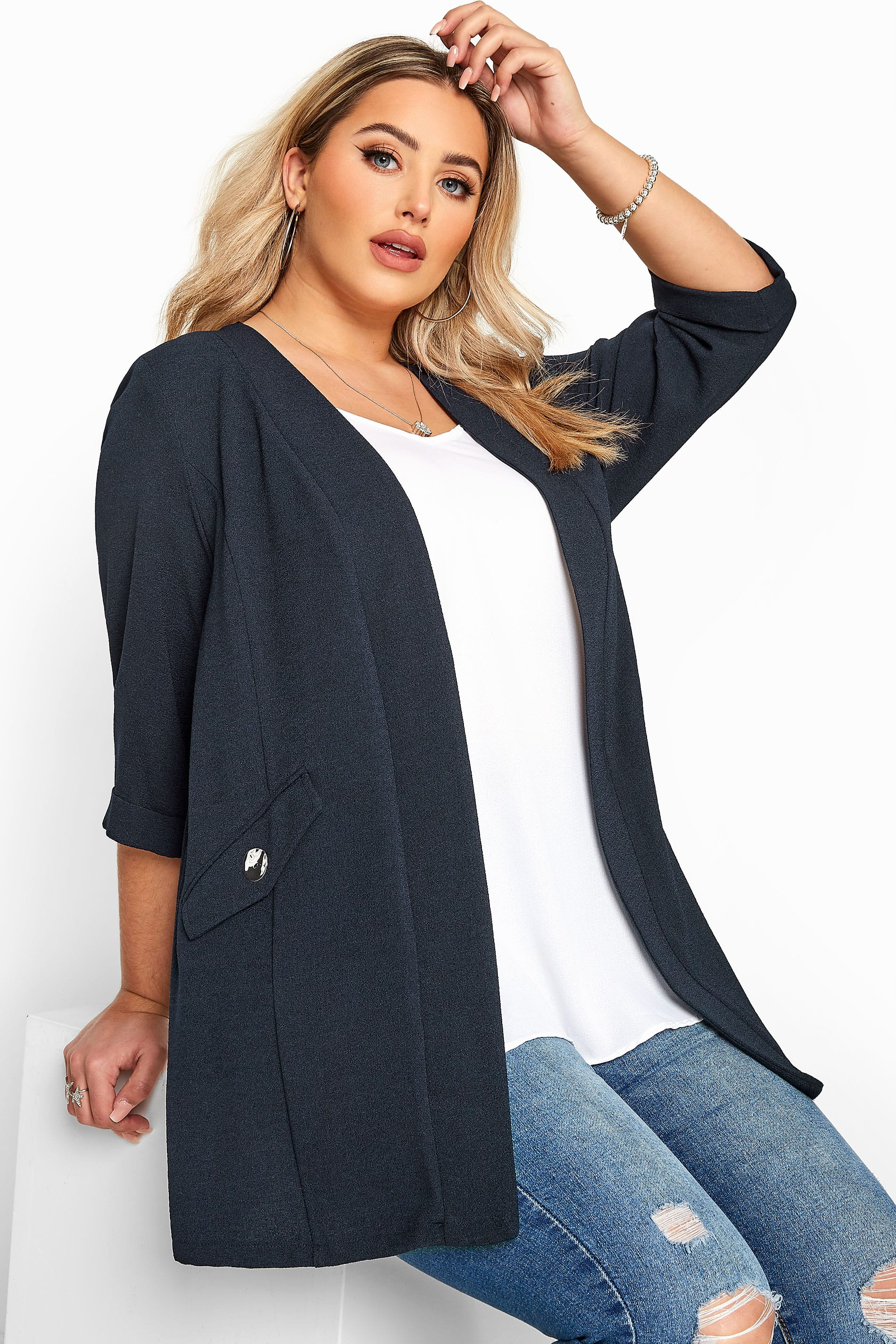 Navy Collarless Blazer Jacket