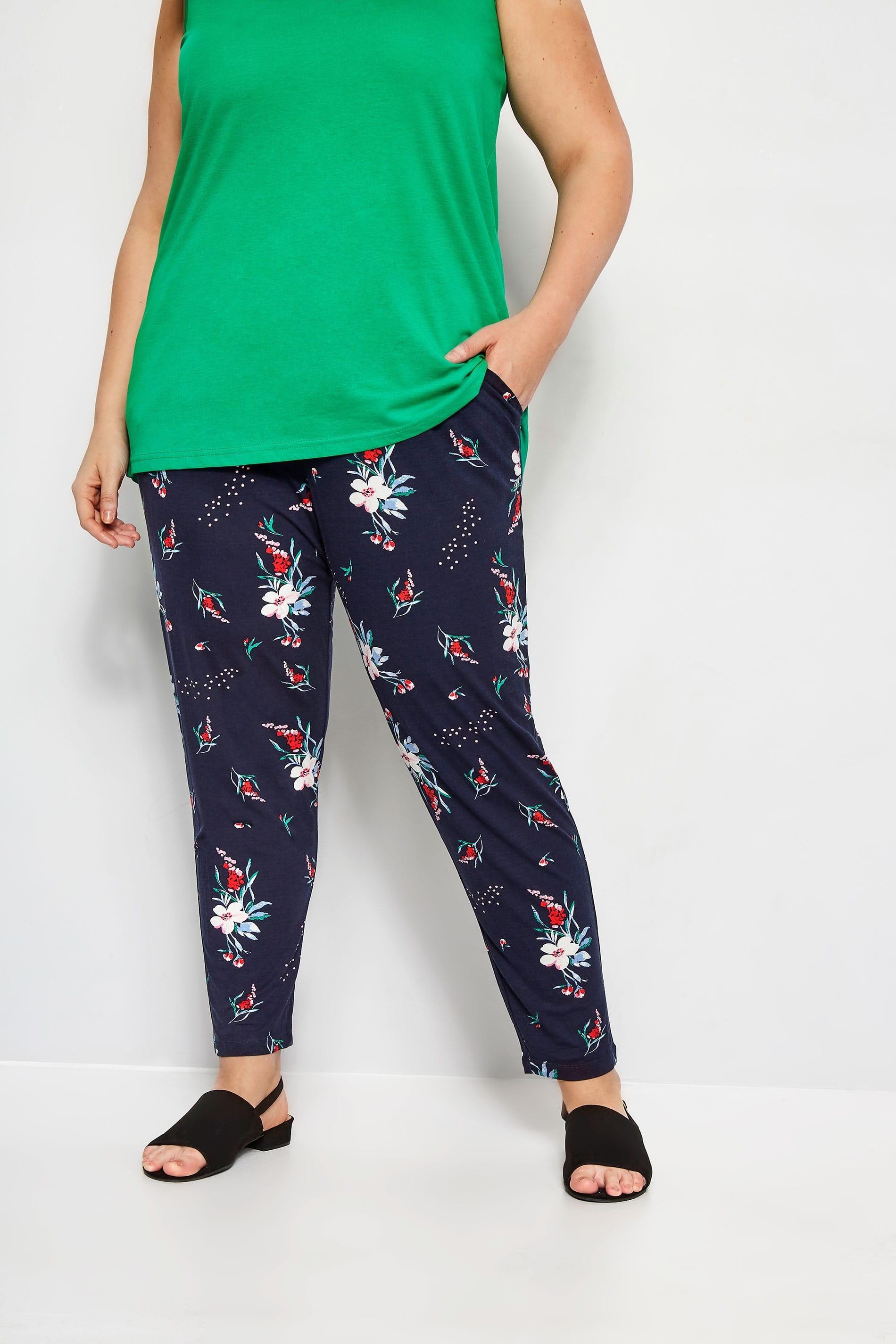 Navy Floral Harem Trousers