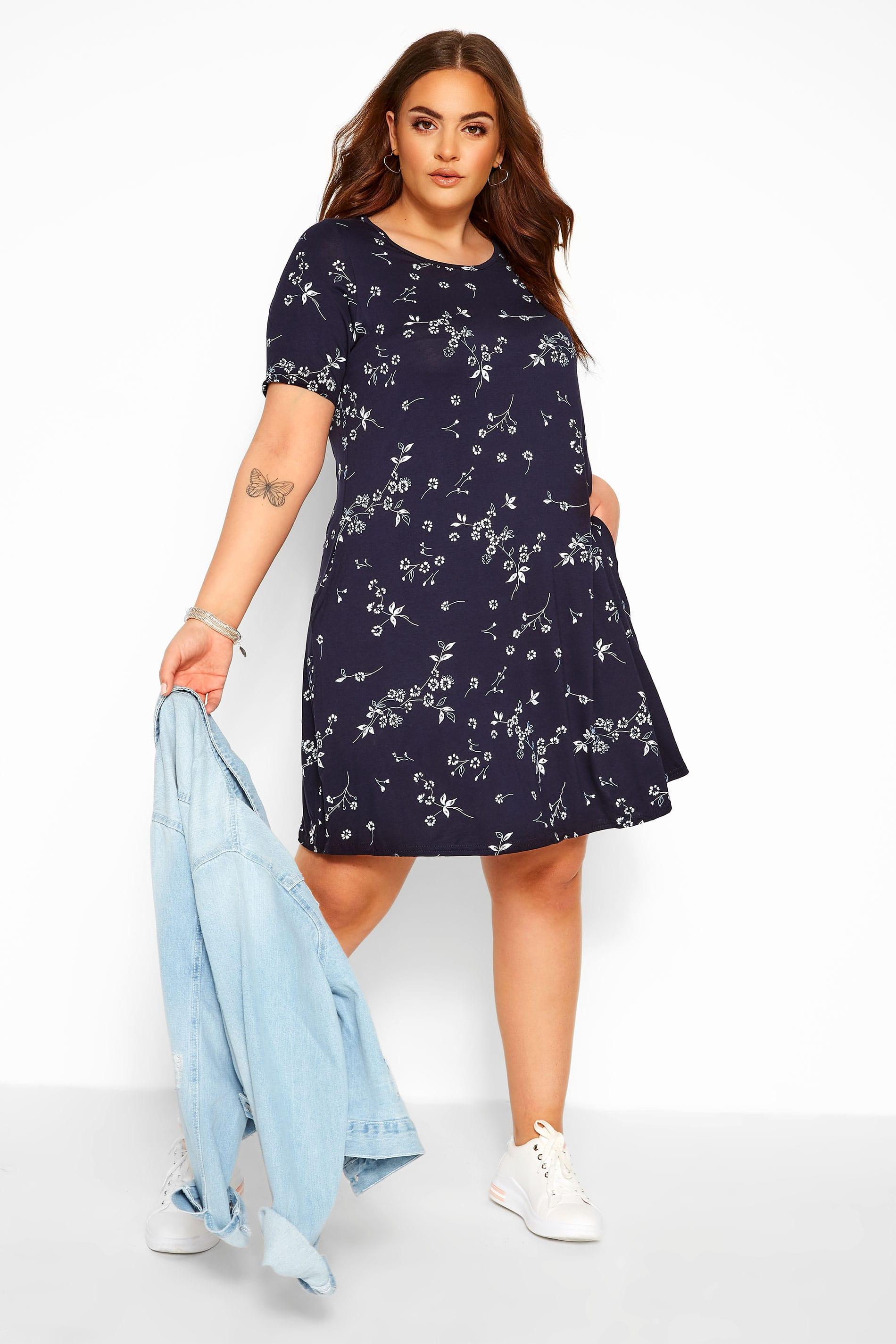 Navy Floral Pocket Swing Dress