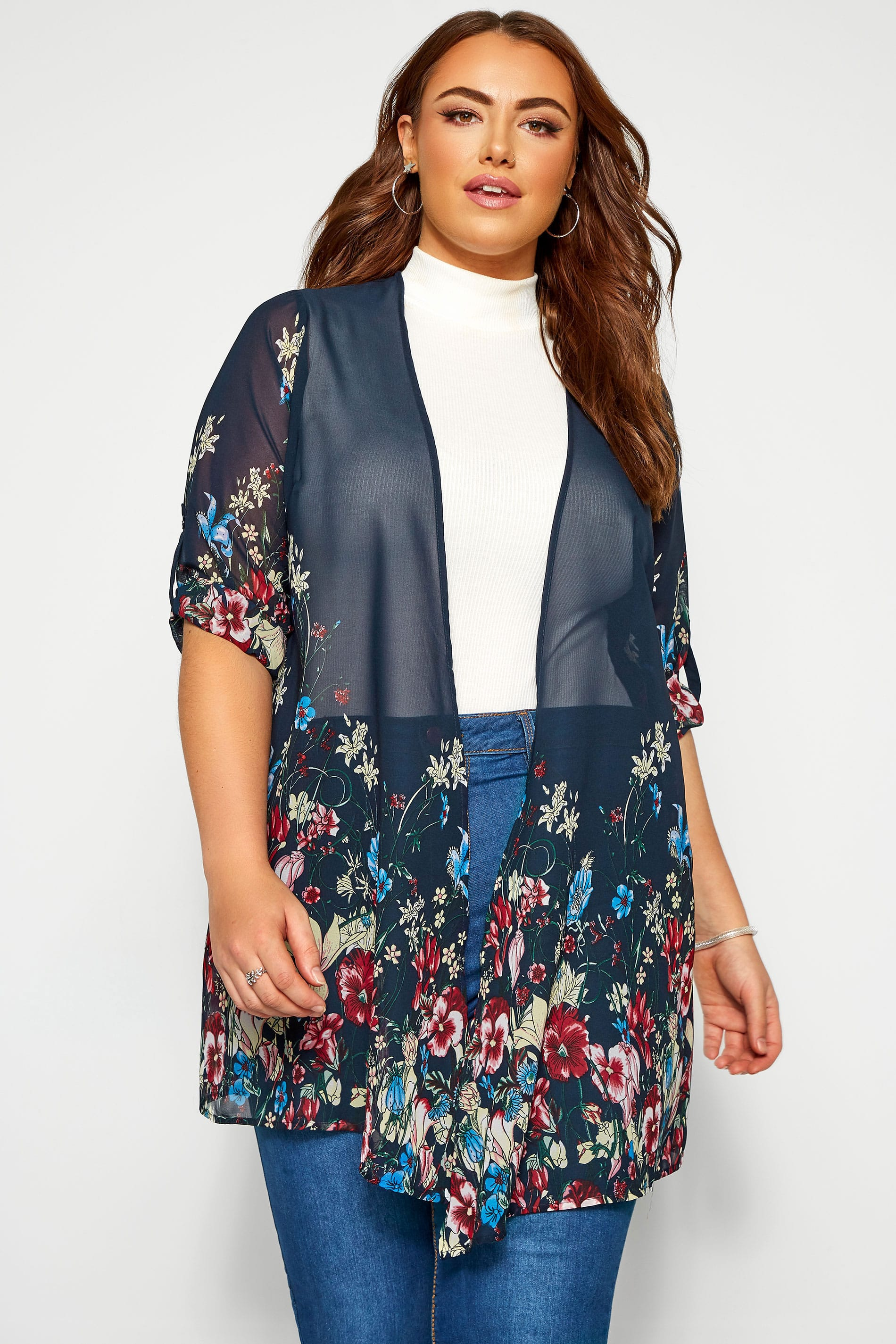 Navy Floral Waterfall Chiffon Cover Up