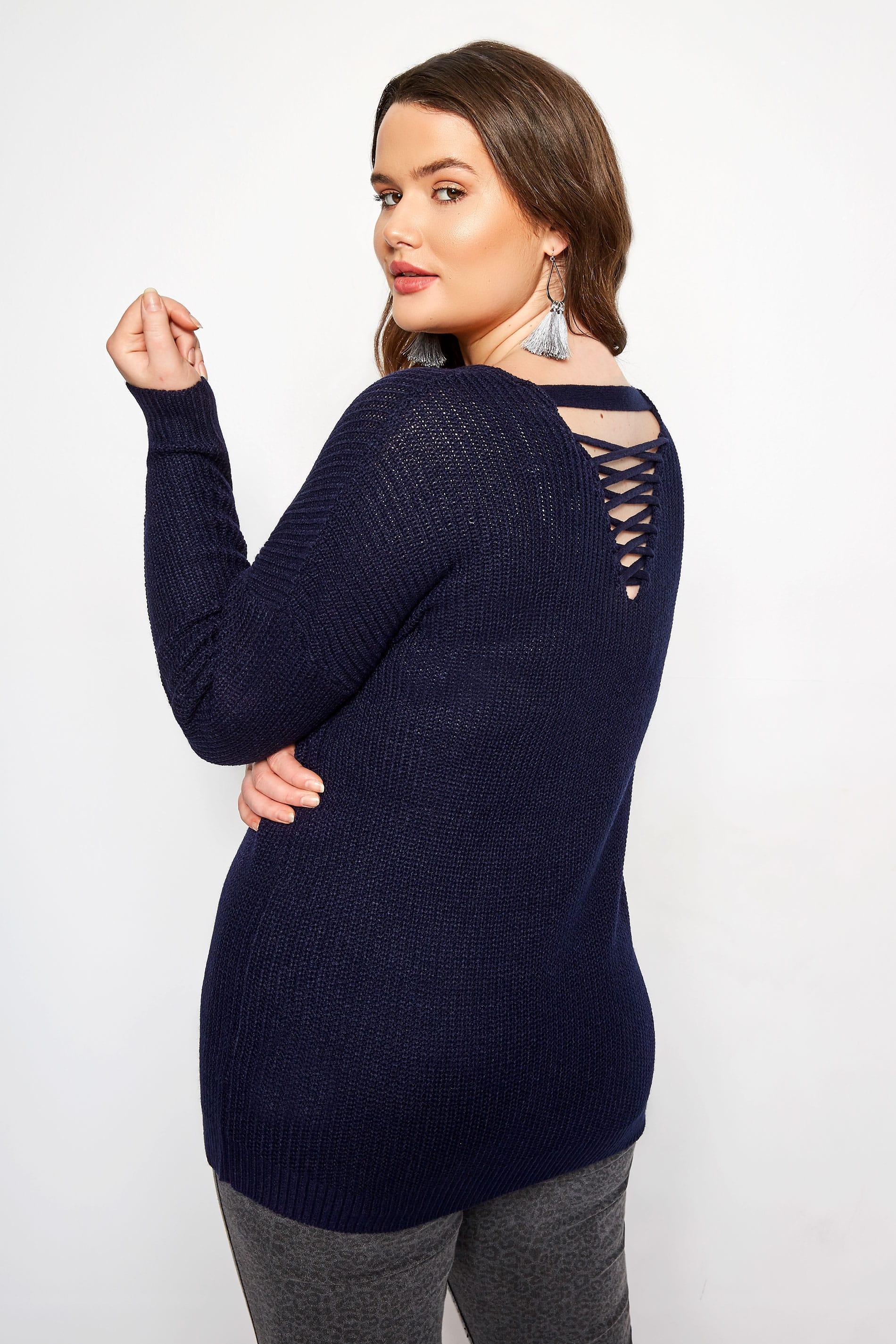 Navy Lattice Back Knitted Jumper