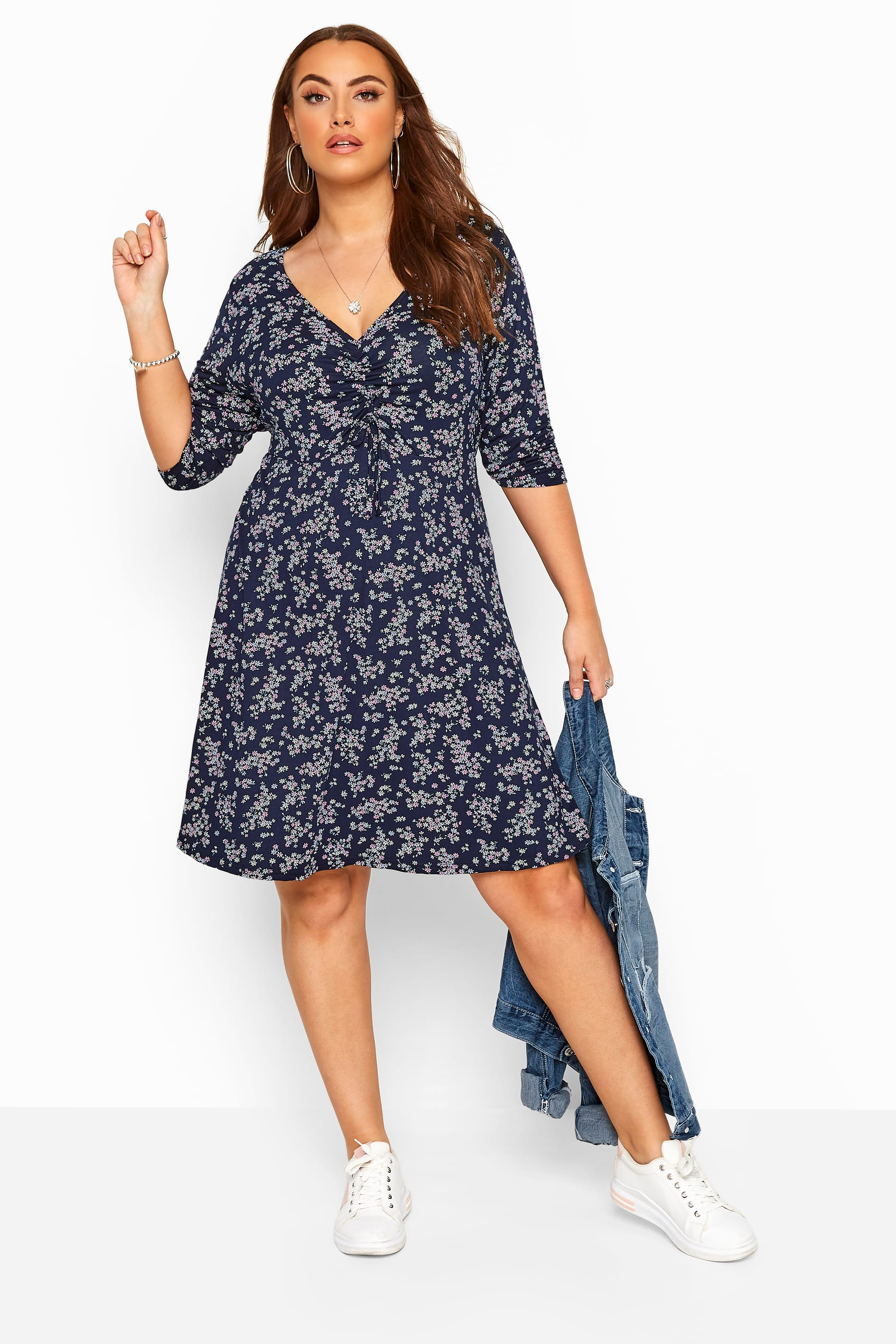 Navy & Pink Floral Ruched Dress