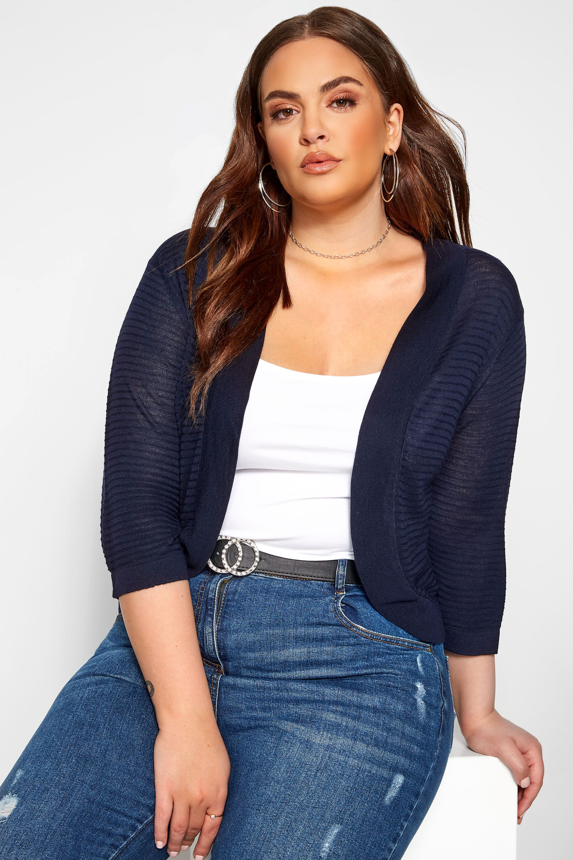 Navy Ribbed Stitch Detail Shrug