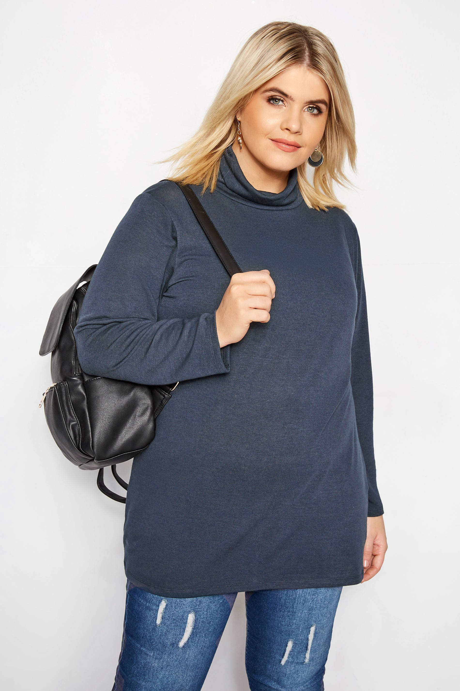 Navy Turtleneck Swing Top